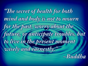 """The secret of health for both mind and body is not to mourn for the past, worry about the future, or anticipate troubles, but to live in the present moment wisely and earnestly."" ~Buddha~"